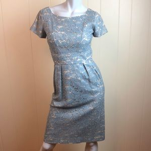 Vintage 60s Pale Blue Gray Lace Sheath Dress